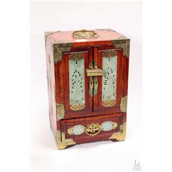 Vintage Oriental rosewood jewel box fitted with jade paneled doors and jade inlays, brass corners, p