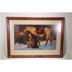 "Framed print ""Prayer at Valley Forge"" by artist Arnold Friberg, overall framed dimensions 23"" X 32"""
