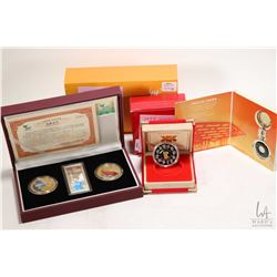 Box coin set including 1998 Lunar Year of the Tiger $15, .925 silver coin with 24 karat gold cameo a