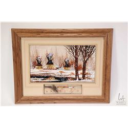 Framed oil on board painting titled on verso Winter Camp with inset spear, signed by artist Roger Fl
