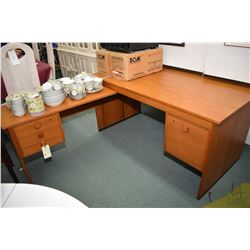 Mid century teak single pedestal office desk with three drawer run off made by Domino Mobler Denmark