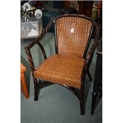 Twist frame open arm parlour chair with rattan seat and back