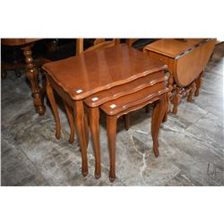 Set of three French Provincial walnut nesting tables