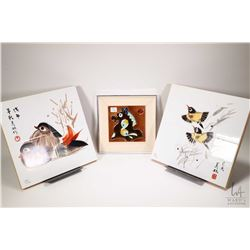 """Selection of tile wall art including 12"""" X 12"""" bird plaques and a framed 6"""" X 6"""" tile"""