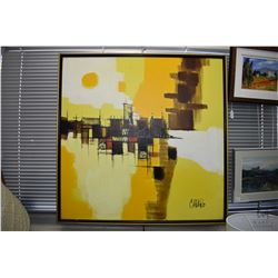 Framed acrylic on canvas abstract painting of a bridge in a cityscape, signed by artist Cafapo (?),
