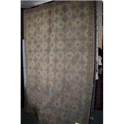 100% Iranian Kashan wool area carpet with highly patterned overall design in shade of taupe, blue, s