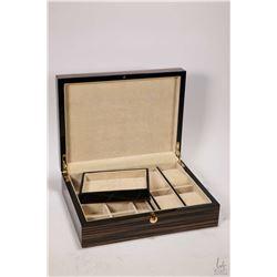 Gent's laminated wood grain jewellery casket with watch storage etc.