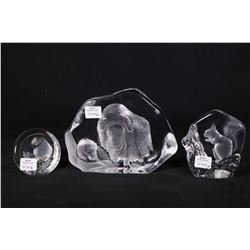 "Three Mats Jonasson lead crystal wildlife sculptures including 5"" limited edition water buffalo 893/"