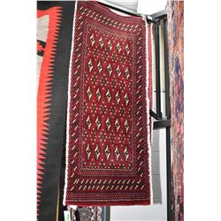 """100% Iranian wool scatter rug with red background, geometric pattern and fringed on both sides, 22"""""""