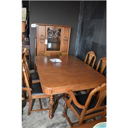 Refectory style walnut dining room suite including table with two insert leaves, five chairs includi