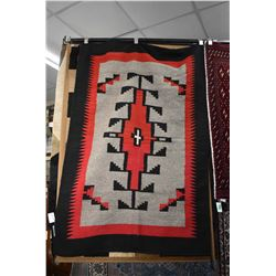 """South-western style area carpet in black, red and grey, 46"""" X 68"""""""
