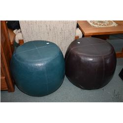 Two leather wrapped stools, one brown and one turquoise