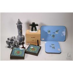 """Tray lot of collectibles including a 4"""" jade Inukshuk figure in fitted wooden box, two Canadian made"""