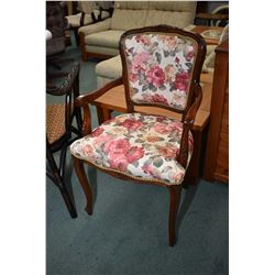 Modern Queen Anne style open arm parlour chair with floral upholstery