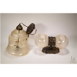 Two vintage light fixtures including double ball wall fixture and a three bulb hanging ceiling fixtu