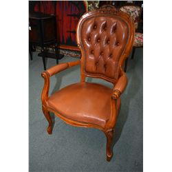 Antique style button tufted open arm parlour chair with nail head decoration