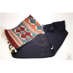 """Two wool wall hangings including an artisan made Haida piece with bead and button embroidery 31 1/2"""""""