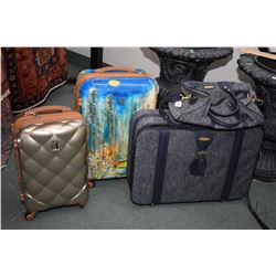Selection of luggage including three piece demin style Fifth Avenue suitcases plus two hard cases in