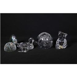 Selection of glass paperweights including Princess House teddy and duck, iridescent crystal half dom