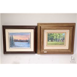 Three framed original paintings including acrylic on massonite of a wintery lake and mountain by art