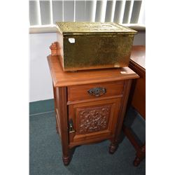 "Antique walnut commode and a brass bound lidded ""Slippers"" box"