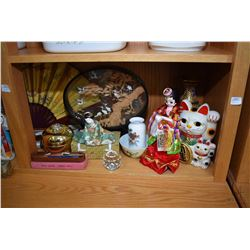 Shelf lot of Oriental collectibles including hand crafted cork crane diorama, two double sided silk