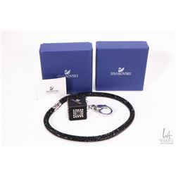 Swarovski crystal black mesh double wrap bracelet and a Swarovski crystal dice motif key chain