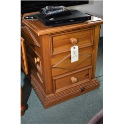 Pair of side tables, one with drop leafs plus one with three drawers, two of which are accessed fron