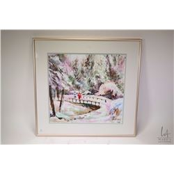 "Framed acrylic on paper painting of a wintry bridge scene with skiers, 15"" X 16"""