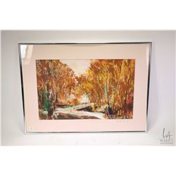 "Framed acrylic on paper painting of an autumn bridge scene by artist Mark XU '91, 13"" X 20"""