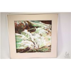 "Framed acrylic on paper painting titled on verso ""Falls"" by artist Mark XU '91, 22"" X 21"" note needs"
