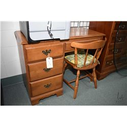 Single pedestal Villas maple student desk with matching chair