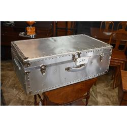 Modern aluminium sheeted large suitcase style steamer trunk