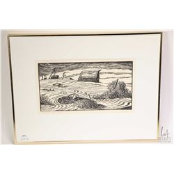 """Three framed limited edition prints including """"Alberta Dustbowl"""" pencil signed by artist M. Shelton"""