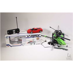 Selection of toys including boxed V-Max Alloy remote control helicopter, a Maisto remote control car