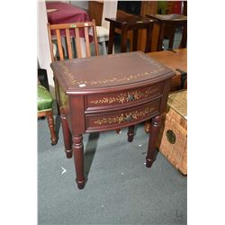 Modern two drawer flat to the wall occasional table with hand painted decoration