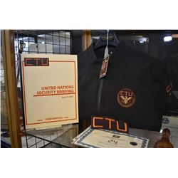 Collection of authentic movie props from the television series 24 including CTU jacket, CTU patch, b