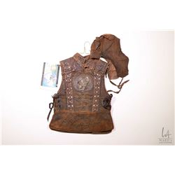 """Authentic movie prop from """"Around the World in 80 Days"""" leather scorpion vest a leather hat, include"""