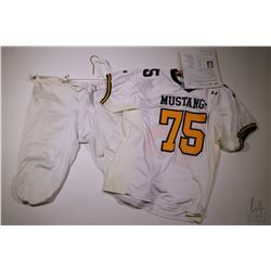 Authentic movie prop from Gridiron Gang including Jamal Evans' (Jamal Mixon) Mustangs jersey and pan