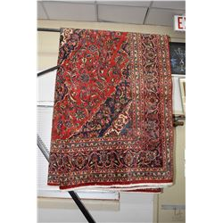 100% handmade Kashan area carpet with center medallion, overall geometric floral with red background