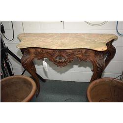 "Antique European hand carved marble top flat to the wall console table, 47"" in width"