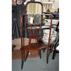 "Antique four level etagere with bevelled mirror, 58"" in height"