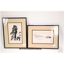 "Two framed Inuit prints including titled ""Mother and Son"" and "" A Hunter and His Dogs"", both signed"