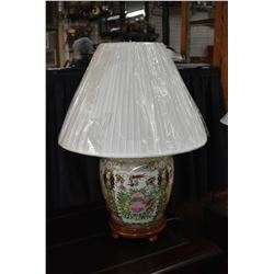 Hand painted Ginger jar style table lamp with wooden base and shade