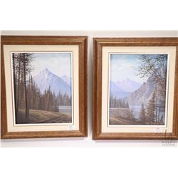Two framed acrylic on canvas painting both of wooded mountain scenes, each signed David Dasse 1986 a