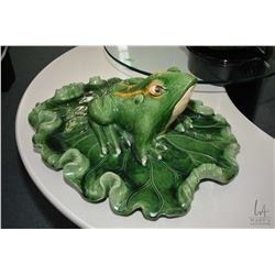 "Glazed pottery lily pad with frog 26"" in length and a lily pad with flower. Note: No Shipping. Local"