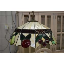 Antique fruit motif leaded and slag glass ceiling fixture. Note: No Shipping. Local Pickup Only