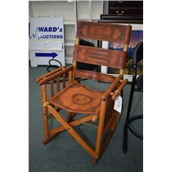 Wood framed, western style hand tooled leather folding rocking chair