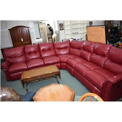 Large red seven seat reclining sectional with one flip down with drink storage section and three rec