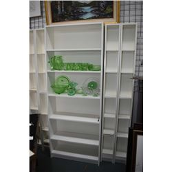 "Five pieces of Ikea open wall unit with adjustable shelves, assembled dimensions 80"" in height and 6"
